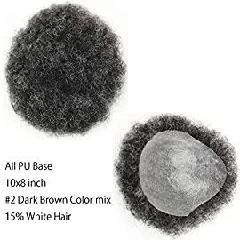 Dreambeauty Hairpieces for Men 10×8 inch 100% Human Hair Toupee Men's Hairpiece Afro Curl Frontal Lace Base with Hard PU Reforced