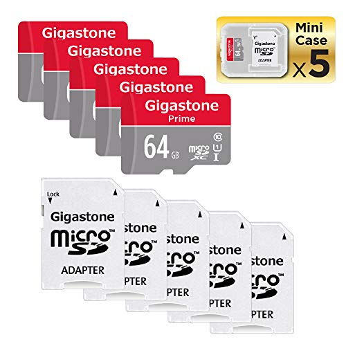Gigastone Micro SD Card 64GB 5-Pack MicroSD XC U1 C10 with Mini Case and SD Adapter High Speed Memory Card Class 10 UHS-I Full HD Video Nintendo Switch Dash cam GoPro Camera Samsung Canon Nikon Drone ()