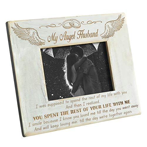 K KENON Personalized Wood Picture Frame to My Angel Husband - Engraved Natural Wood Photo Frame - I Love You Always and Forever (to My Husband)
