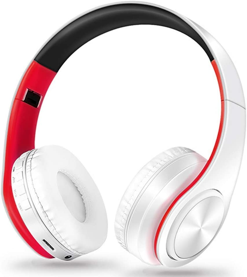 ZKUROZOXY Bluetooth Headphones On Ear Stereo Wireless Headset Wireless Headphone Headset with Microphone for PC Cell Phones TV (Red-White)