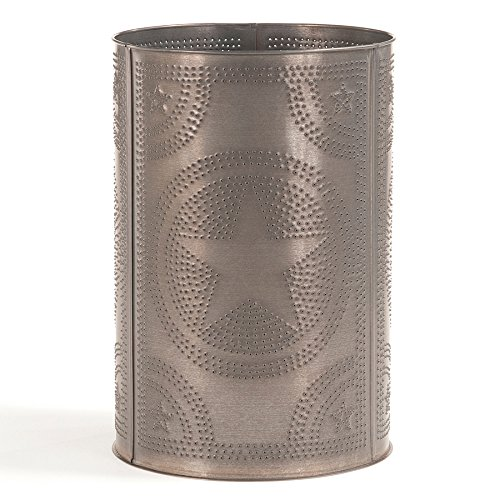 - Irvin's Country Tinware Waste Basket with Regular Star in Blackened Tin