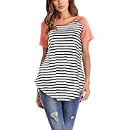 SMALLE Women Fashion Splice Casual Short Sleeve O Neck Striped Blouse T Shirt
