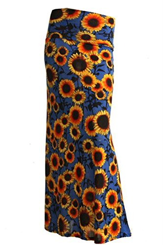 Azules Women's Stretchy Slinky Fabric Maxi Skirt (Small, Sunflowers-Blue)
