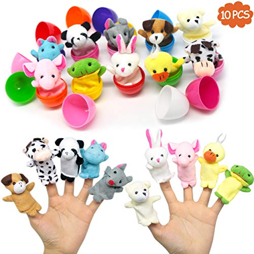 (10 pcs plastic Easter Eggs with Plush Animals Finger Puppet set,easter decorations,prefilled easter eggs for All kinds,Surprise Eggs for Party Favor,toddler toys,Easter Basket Stuffers)