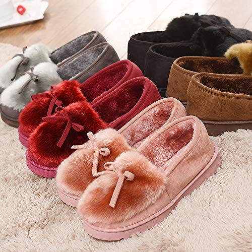 Fondo Indoor Da Shoe Low Fashion Calore Pantofole Fluffy Casa Spesso Lady Brown Cotton Top For Donna Neve Closed Women FEwddq0