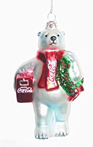 Kurt Adler CC4162 Glass Coca-Cola Bear Ornament with Wreath and Cooler, 4.5""