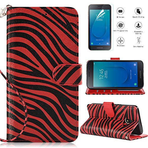 Samsung Galaxy J2 Core Case,Galaxy J2 Dash Case,J2 Pure Wallet Case with [HD Screen Protector],[Kickstand] [Magnetic Closure] and [Wrist Strap] Zebra Phone Case,Red ()