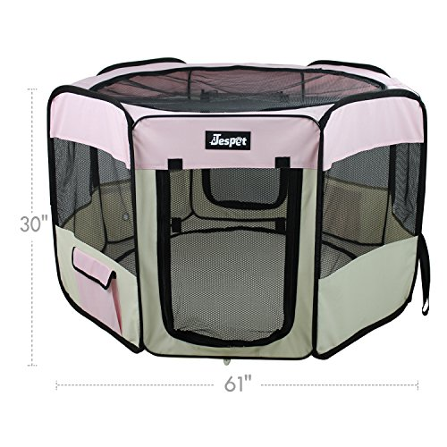 Jespet 61'' Pet Dog Playpens, Portable Soft Dog Exercise Pen Kennel with Carry Bag for Puppy Cats Kittens Rabbits,Pink by Jespet (Image #4)