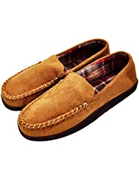 Men's Casual Pile Lined Indoor Outdoor Rubber Sole Micro Suede Moccasin Flats Slippers