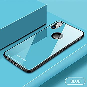 Milu iPhone X/Xs Case, Ultra Thin Stronger Tempered Glass Back Cover with Soft Silicone Rubber Bumper Frame Support Wireless Charging for Apple iPhone X/XS (BLUE)