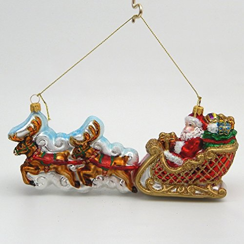 Santa In Sleigh - Blown Glass Christmas Ornament - Made in (Poland Glass Ornaments)