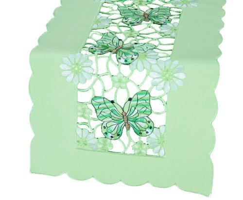 (Xia Home Fashions Emerald Mariposa Spring Table Runner, 12 by 28-Inch)