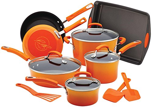 Rachael Ray Porcelain Nonstick 14-Piece Cookware Set with Ba