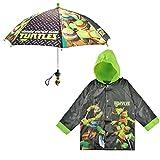 Nickelodeon Little Boys TMNT Slicker Umbrella Rainwear Set, Black/Green, Age 6-7