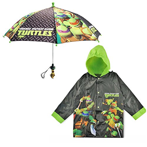 Nickelodeon Little Boys TMNT Slicker and Umbrella Rainwear Set, Black/Green, Age 2-3
