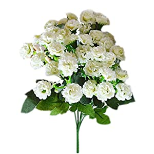 6 Branches 30 Flower Heads Small Lilac Silk Artificial Flowers Gifts-White 1