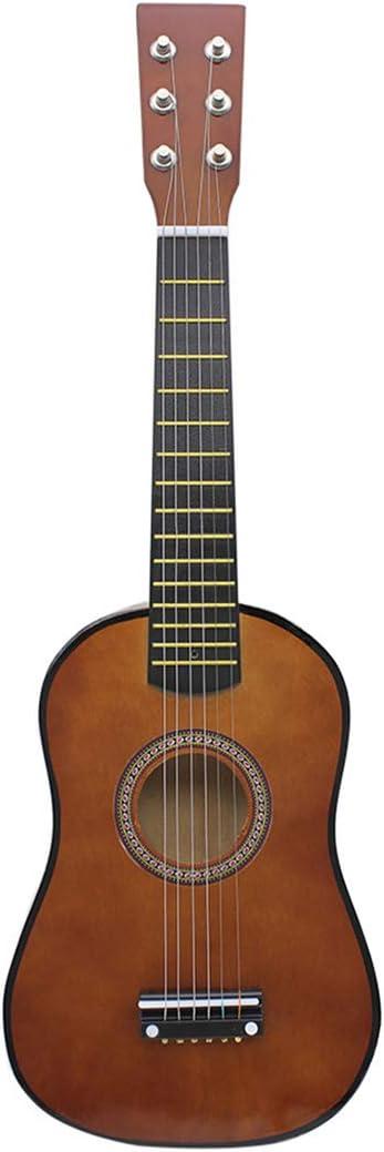 PHYNEDI Instrumento de Música Infantil Guitarra para niños 23 Pulgadas 6 Cuerdas Musical Juguete en Madera (café)