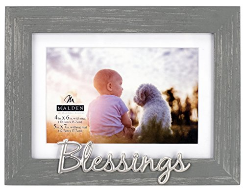 Malden International Designs 3353-46 4X6/5X7 Blessings Dist. Gray