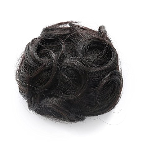 (Rosette Hair 100% Human Clip on/in Messy Hair Bun Extension Curly Hair Chignons Donut Hair Piece Wig (Black))