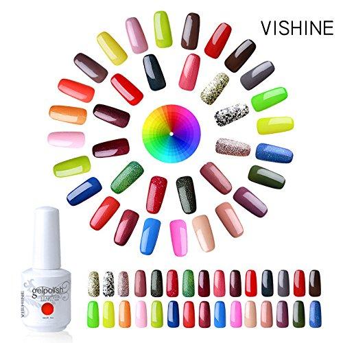 Vishine Pick Any 12 Colors UV LED Gel Polish Soak Off Manicure Varnish Top Base Coat Kit 12Pcs × 15ml