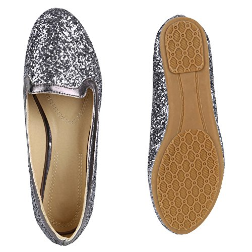 Damen Slipper Pop Art Loafers Flats Schuhe Prints Leder-Optik Flandell Grau Metallic Cabanas