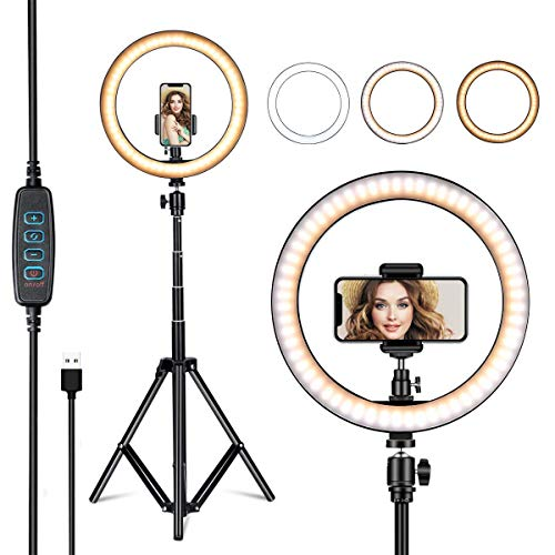 COOLMOBIZ 15 inch Selfie LED Ring Light with Tripod Stand and Cell Phone Holder and 3 Light Mode, Dimmable Desktop LED Makeup Ring Light Kit for Live Streaming, Video