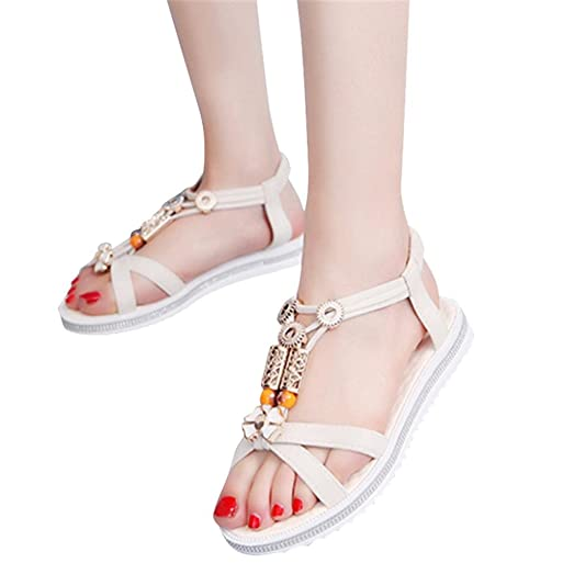 Women Fashion String Bead Sandal Summer Strappy Low Heel Wedge Ankle Shoes Beach Sandals