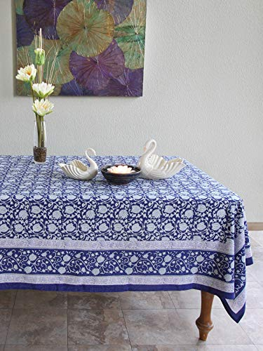 (Saffron Marigold Midnight Lotus Floral Blue Tablecloth 70 x 90 | Hand Printed | 100% Cotton | Stain Camouflaging | Kitchen Dining Room Cobalt Jacobean Asian Printed Banquet Table Cloth)