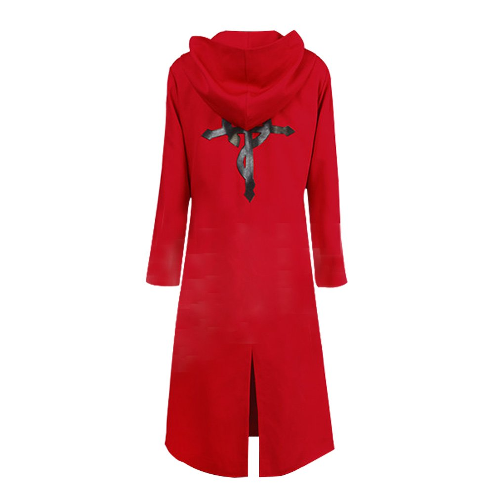 YMCC Fullmetal Alchemist Halloween Costume Edward Elric Cosplay Red Coat (M, Red)