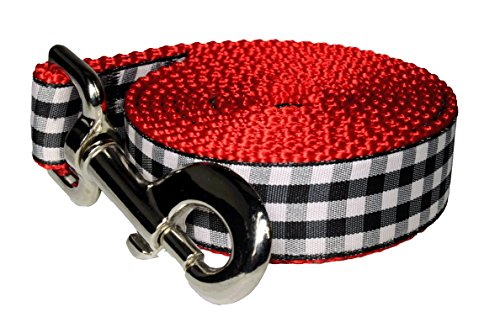 Paw Paws USA Picnic Basket Dog Leash, Medium, Black/Red