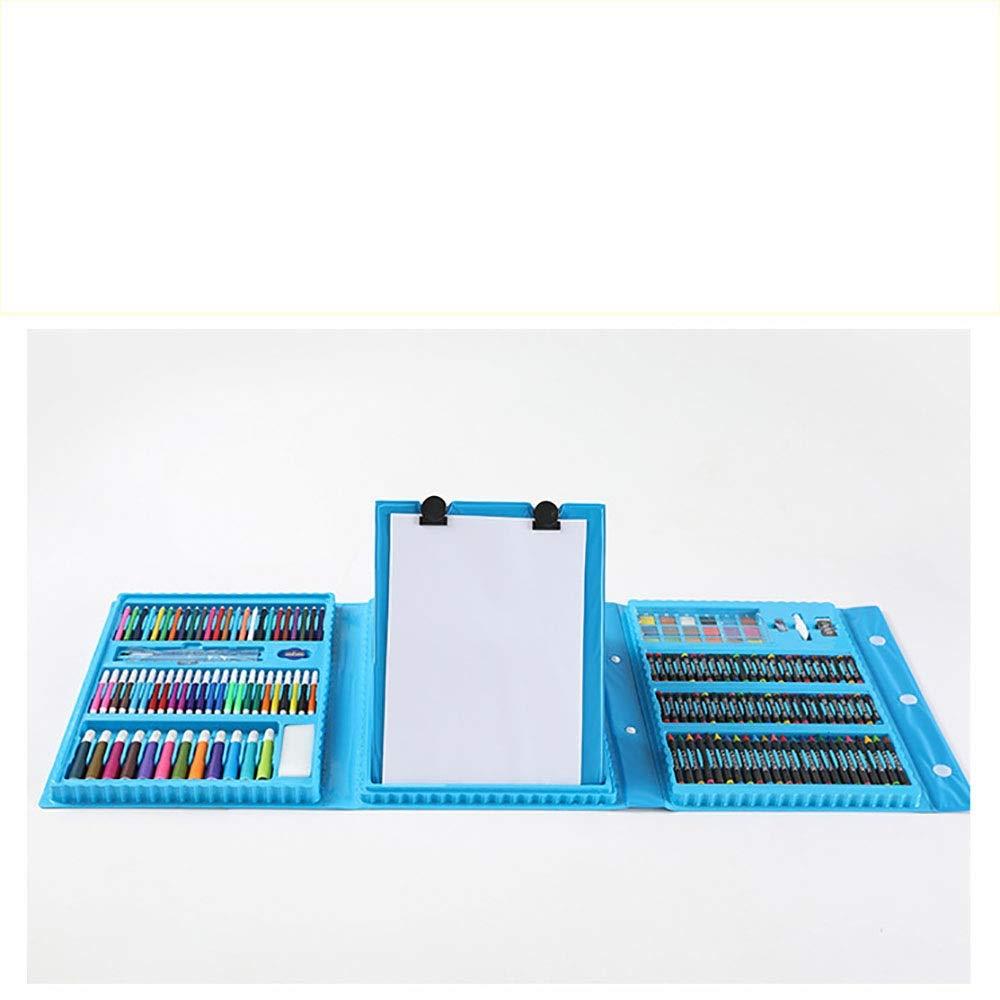 DERTHWER Children's Watercolor Pen Set 176 Pieces Kids Crafts Artist Set in Carry Case Pens Pencils Paints Pastels Crayons Colored Pencil Set DIY Painting Tools (Color : Blue, Size : Free Size)