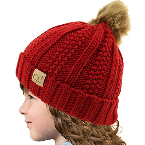 Kids Red Beanie (Kids CC Ages 2-7 Sherpa Lining PomPom Thick Stretchy Knit Beanie Cap Hat Red)