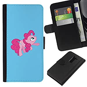 KingStore / Leather Etui en cuir / LG G2 D800 / Tail Pink Pony Hore Fairytale childresn