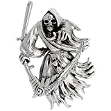 Sterling Silver Large Grim Reaper Charm, 2 inch tall