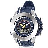 Boy's racing multi-function digital electronic watch, Cool led 100 m waterproof dual display dual time stopwatch alarm sports outdoor wristwatch-C