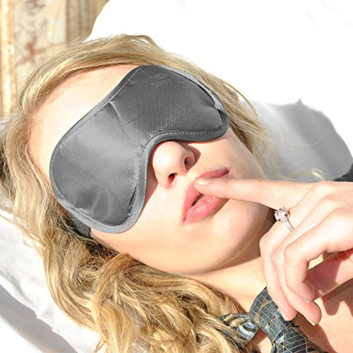 """Sleep More (SMALL-Med Size) Sleeping Mask for Men or Women, with Free """"ONE BAG"""". A GREY Satin Natural Rest Aid for Sleep Disorders & - Faces Wiki Small"""