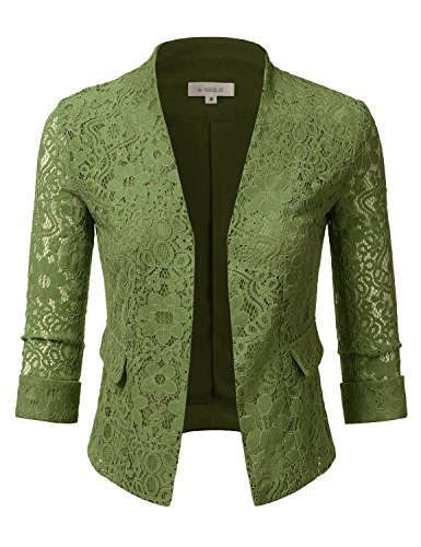 Doublju Classic Collarless Open Front Blazer Jacket For Women With Plus Size OLIVE X-LARGE