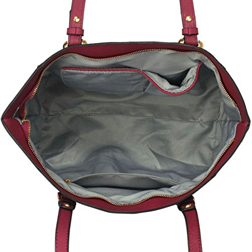 Grande borse a tracolla Xardi London da donna, da 30,5cm, in pelle sintetica, borsa con maniglie da lavoro o università Burgundy