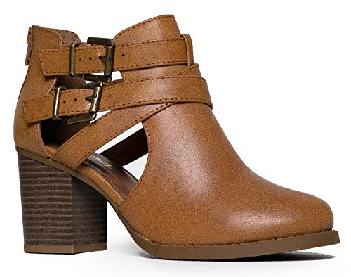 Brown Cut Out (Cut Out Buckle Ankle Bootie - Low Stacked Wood Heel Western Round Boot - Vegan Leather Sammi by J.)