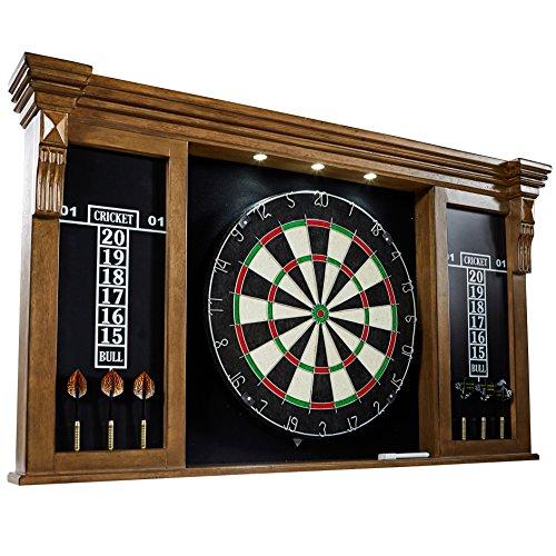 Premium Bristle Dartboard - Barrington Woodhaven Premium Bristle Dartboard Cabinet Set with LED Lights