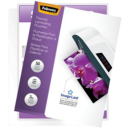 (Fellowes Thermal Laminating Pouches, ImageLast, Jam Free, Letter Size, 3 Mil, 50 Pack (52225))