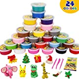 DIY air Dry Clay Modeling Light Plasticine 24 Colors with Tools Clay & Doug Non-Sticky Eco-Friendly Creative Art DIY Magic Crafts Educational Toys for Toddlers Boys Girls Kids