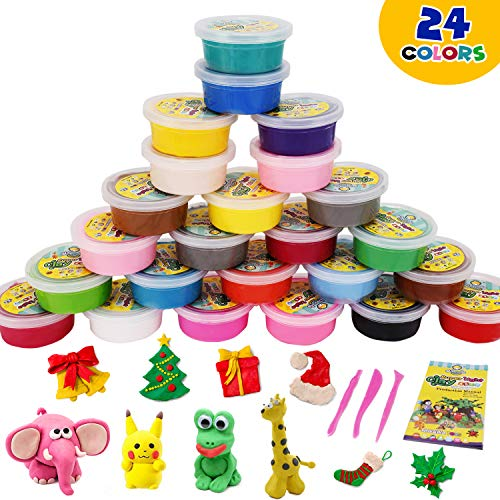 DIY air Dry Clay Modeling Light Plasticine 24 Colors with Tools Clay Non-Sticky Eco-Friendly Creative Art DIY Magic Crafts Educational Toys for Toddlers Boys Girls Kids