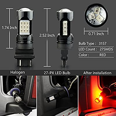 JDM ASTAR Super Bright PX Chips 3056 3156 3057 3157 4057 4157 Red LED Bulbs with Projector: Automotive