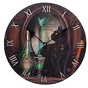 Puckator Decorative Black Cat Absinthe Lisa Parker Wall Clock