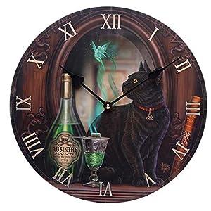 Puckator Decorative Black Cat Absinthe Lisa Parker Wall Clock