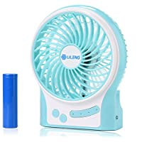 AndThere Battery Operated Fan Small Desk Fan-2200mAh Battery Included,Portable Quiet 3 Speeds Powerful Wind Personal Fan for Home Office Traveling Camping Hiking(Blue)