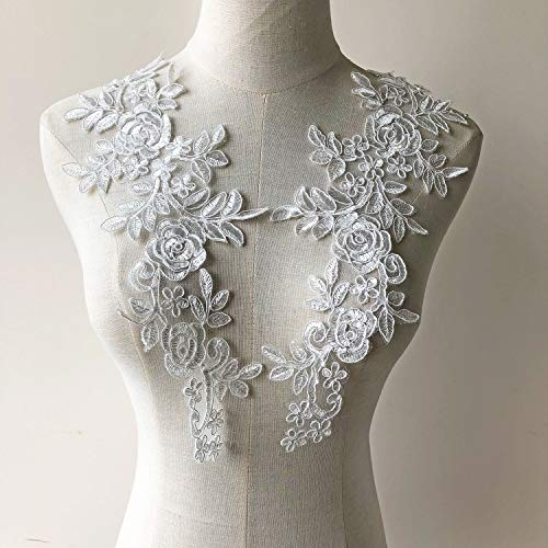 Off-White Embroideried Appliques Patch Corded Flower Lace Applique Blossom Lace Patch Sew on Bridal Dress Gown Veiling