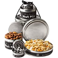 Oh! Nuts Fathers Day Assortment Tin Gift Baskets - Gourmet Food Tower Gifts For Prime Boxes Delivery Ideas, father, Dad - Luxury Sets w Candy Nut, Snacks and Sweets