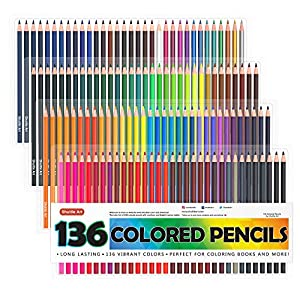 Shuttle Art 136 Colored Pencils, Soft Core Coloring Pencils Set for Adult Coloring Books, Doodling, Sketching, Drawing…
